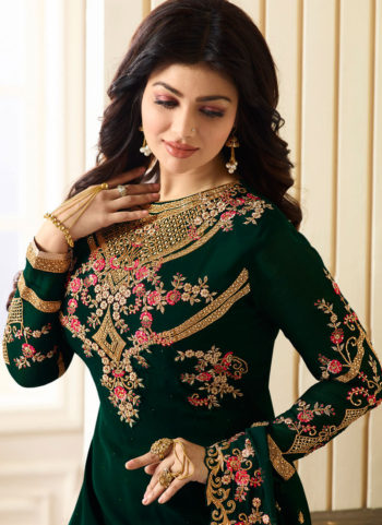 Ayesha Dark Green and Gold Embroidered Straight Suit