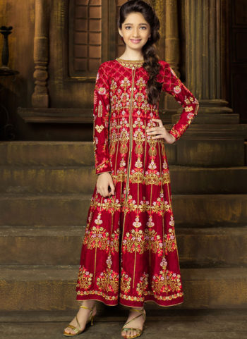Red and Cream Embroidered Jacket Style Anarkali Suit