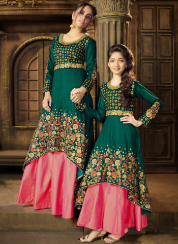 Bottle Green and Pink Embroidered Lehenga Anarkali Suit