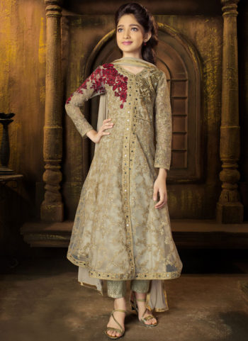 Golden Beige Embroidered Pant Style Anarkali Suit