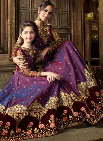 Purple and Maroon Embroidered Anarkali Suit