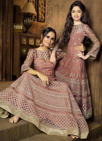 Muave Embroidered Anarkali Suit