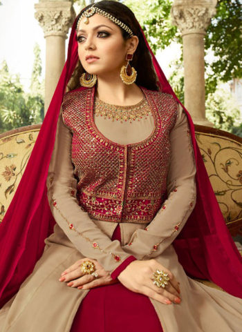 Cream and Pink Embroidered Jacket Style Anarkali