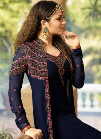 Nevy Blue Embroidered Jacket Style Anarkali