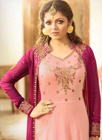 Light Pink and Magenta Embroidered Jacket Style Anarkali