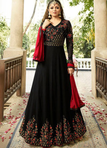 Black and Red Embroidered Anarkali