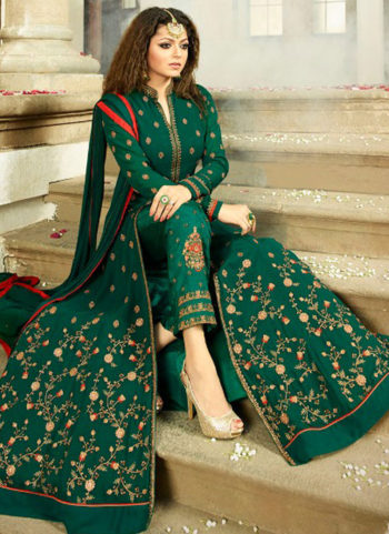 Dark Green and Gold Embroidered Pant Style Anarkali