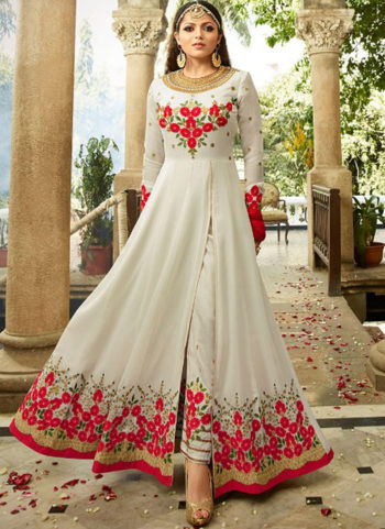 white and Red Embroidered Pant Style Anarkali