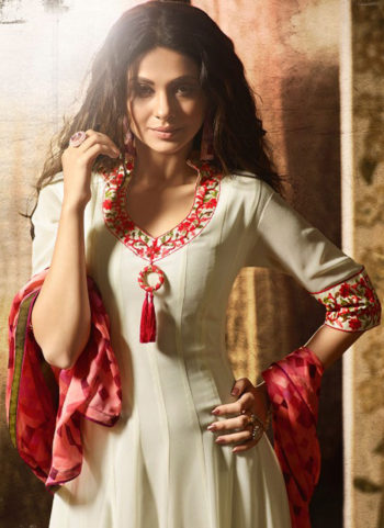 Offwhite and Pink Embroidered Anarkali