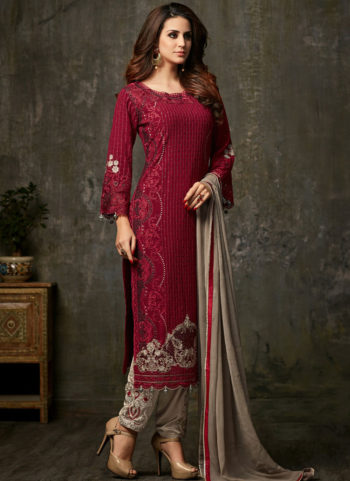 Red and Grey Embroidered Straight Suit
