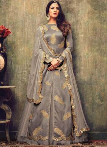 Grey and Gold Embroidered Lehenga Anarkali