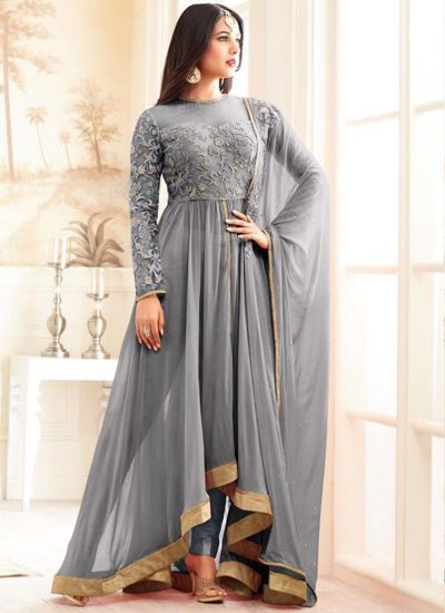 Grey Embroidered Pant Style Anarkali