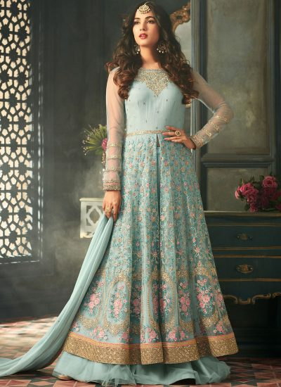 Sky Blue Embroidered Lehenga Style Anarkali