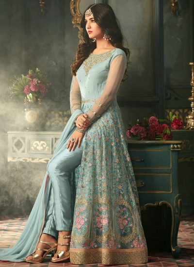 Sky Blue Embroidered Pant Style Anarkali