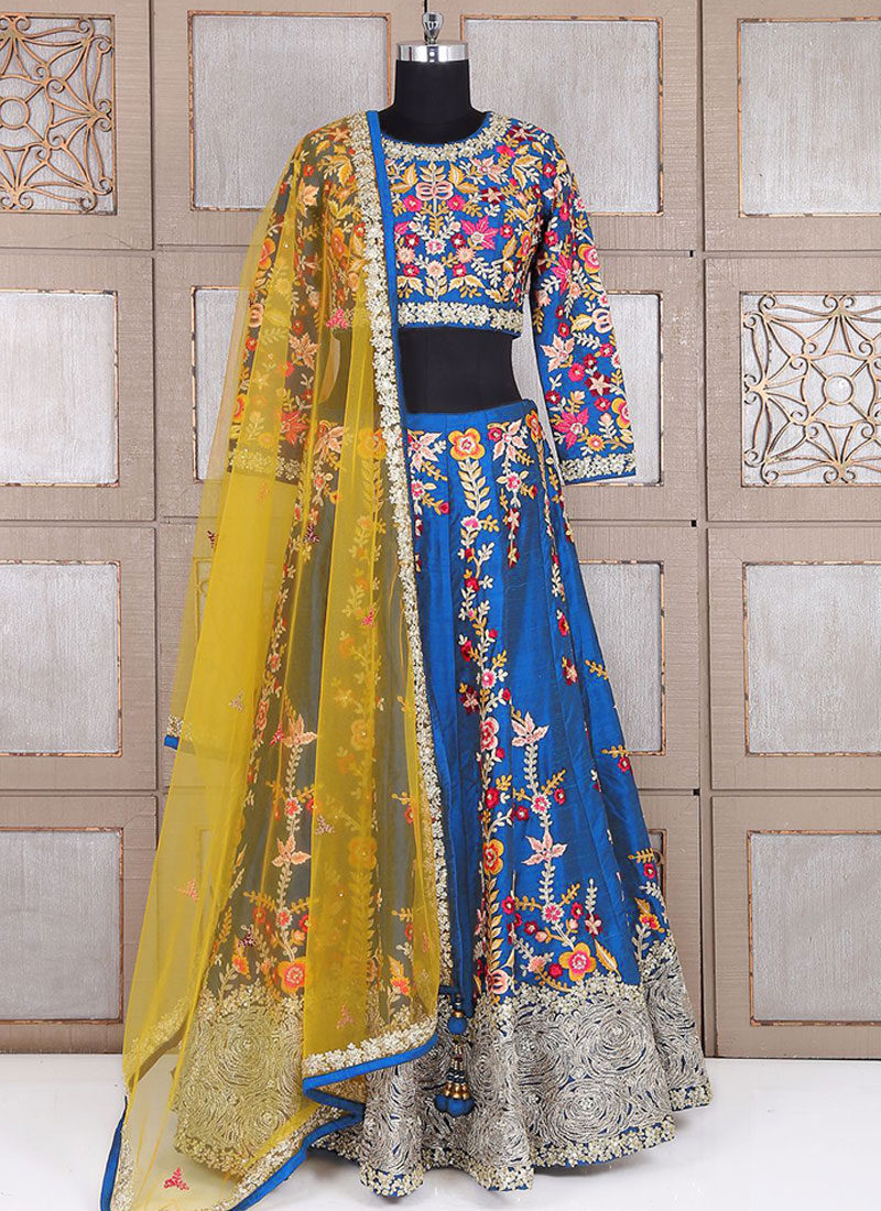Blue and Yellow Embroidered Lehenga Choli