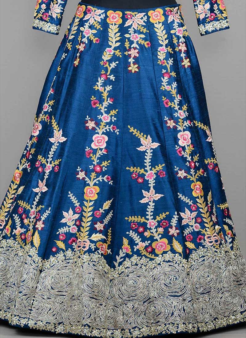 Blue and Yellow Embroidered Lehenga Choli