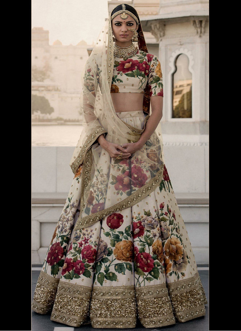 Offwhite and Gold Embroidered Floral Lehenga Choli
