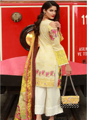 Yellow and White Embroidered Pakistani Style Suit