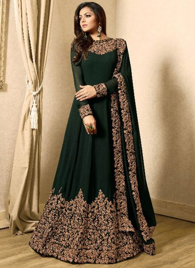 2ab75a90ac ... Dark Green and Gold Embroidered Anarkali