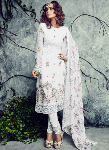 White Embroidered Straight Suit