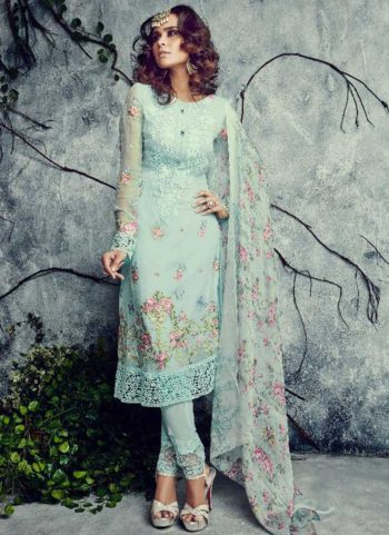 Sea Green Embroidered Straight Suit