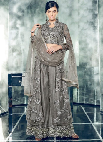 Dark Grey Embroidered Jacket Style Palazzo Suit