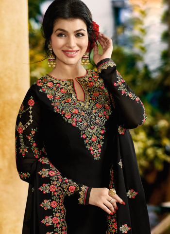 Ayesh Black Embroidered Straight Suit