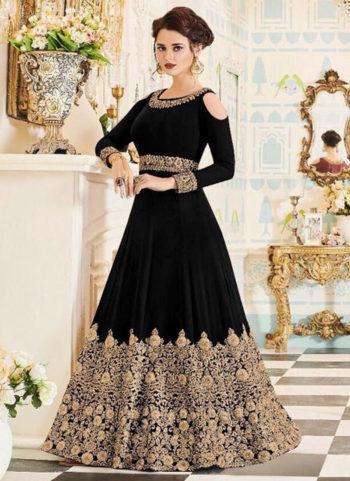 Black and Gold Embroidered Gown