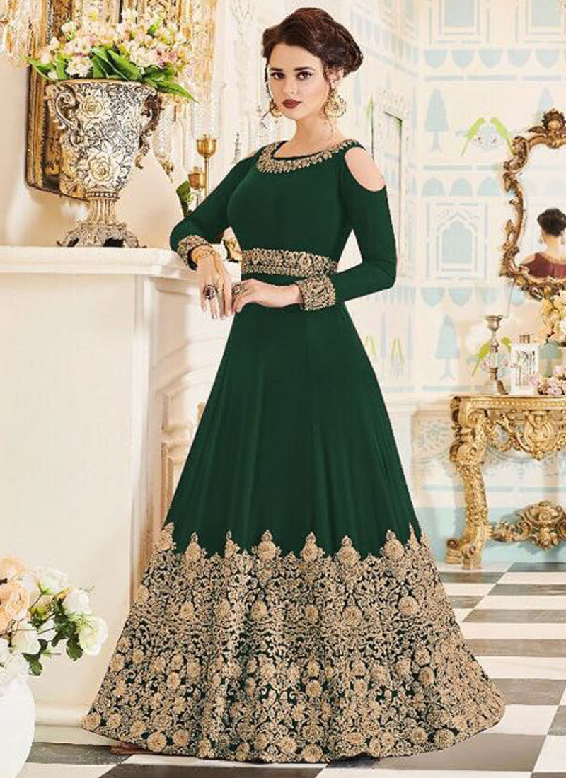 Green and Gold Embroidered Gown