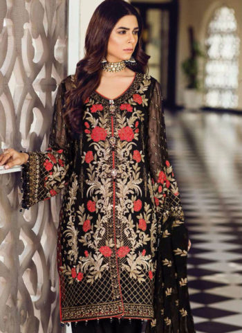 Black and Gold Embroidered Pakistani Style Suit