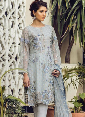 Light Grey Embroidered Pakistani Style Suit