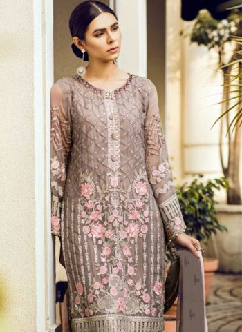 Grey and Pink Embroidered Pakistani Style Suit