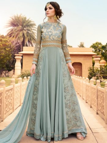 Blue Grey Embroidered Pant Style Anarkali