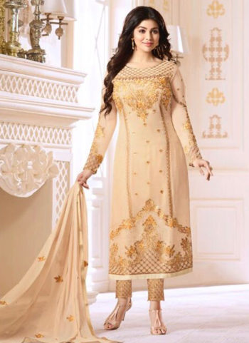 Offwhite and Gold Embroidered Georgette Straight Suit