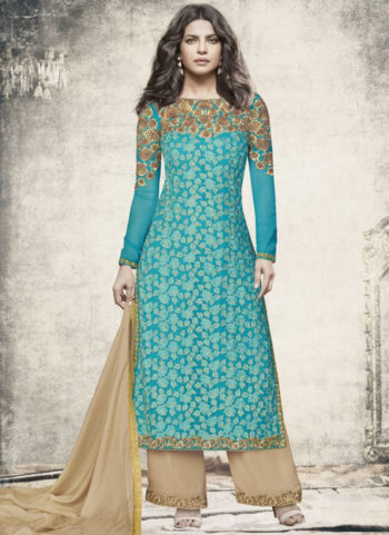 Priyanka Sky Blue and Gold Embroidered Palazzo Suit
