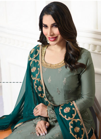 Grey and Rama Green Embroidered Palazzo Suit
