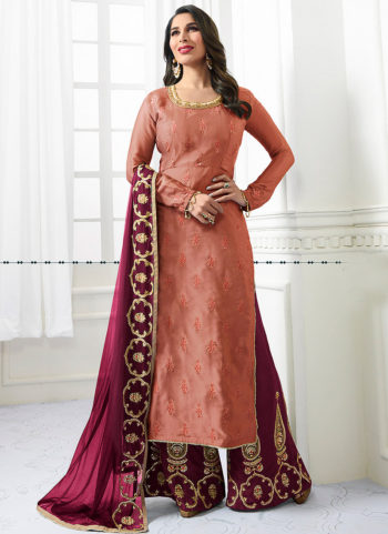 Peach and Pink Embroidered Palazzo Suit