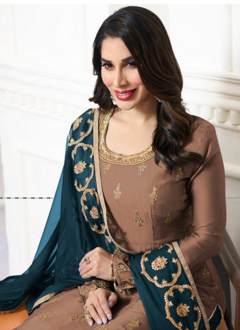 Brown and Blue Embroidered Palazzo Suit