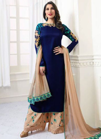 Dark Blue and Gold Embroidered Palazzo Suit