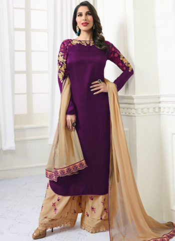 Deep Purple and Gold Embroidered Palazzo Suit