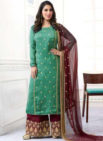 Sea Green and Maroon Embroidered Palazzo Suit