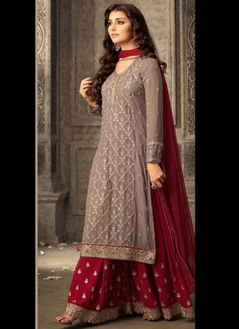 Grey and Red Embroidered Palazzo Suit