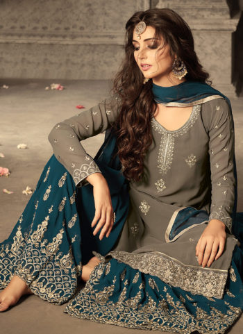 Dark Grey and Teal Embroidered Palazzo Suit