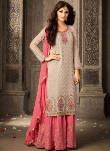 Light Grey and Pink Embroidered Palazzo Suit