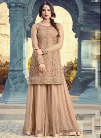 Golden Beige Embroidered Georgette Palazzo Suit