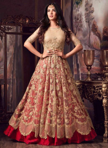 Gold and Red Embroidered Lehenga Style Anarkali