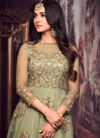 Green and Pink 3D Floral Embroidered Anarkali