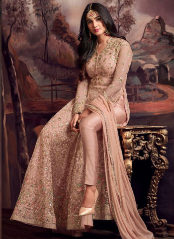 Light Peach Embroidered Pant Style Anarkali