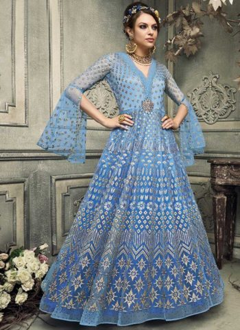 Shaded Blue Embroidered Gown