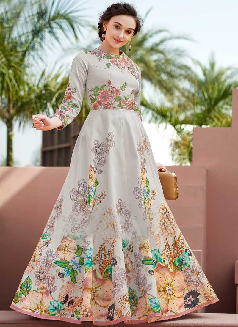 98f0cff6dd Grey and Light Purple Floral Printed Gown – Falakenoor Boutique
